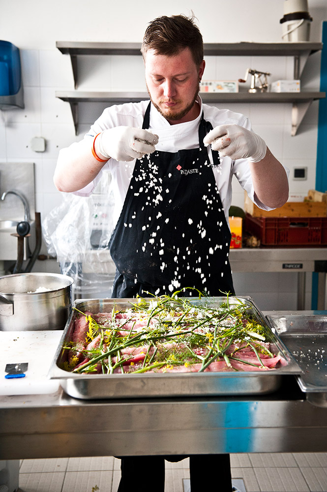 Déjeuner au vert avec Alexandre Couillon (La Marine, Noirmoutier) & Peeter Pihel (Alexander Restaurant, Pädaste, Muhu, Estonie), Île d'Yeu, 2012